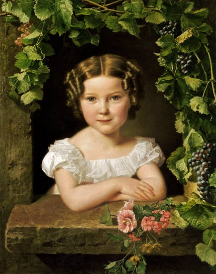 """Little Girl in one of wine leaves umrankten window"""